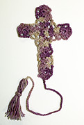 Bible Tapestries - Textiles Originals - Purple Marble Cross Bookmark by Diane M