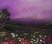 Landscape Posters Pastels Framed Prints - Purple Meadow Framed Print by Anastasiya Malakhova