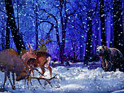 Snow Scene Mixed Media Prints - Purple Print by Michael Pittas