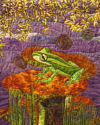 Frogs Tapestries Textiles Posters - Purple Mist Poster by Lynda K Boardman