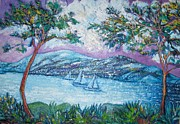 Boats In Water Sculpture Prints - Purple Moon Print by Gunter  Hortz