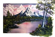 Haze Painting Prints - Purple Mountain Lake Print by Alfred Stringer