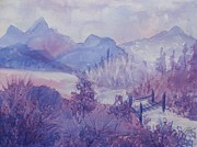 Imagined Landscape  Posters - Purple Mountains Fantasy Poster by Ellen Levinson