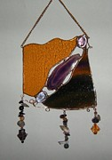 Beach Glass Art - Purple by Nora Solomon