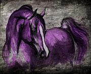 Horses Drawings Prints - Purple One Print by Angel  Tarantella
