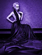 Halter Dress Posters - Purple Poster by Pamela White