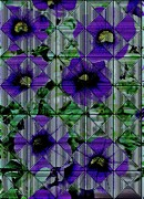 Green Posters Digital Art - Purple Petunia Abstract by Marsha Heiken