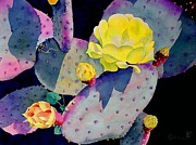 Watercolor Metal Prints - Purple Prickly Pear Metal Print by Robert Hooper