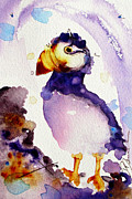 Puffin Paintings - Purple Puffin by Dawn Derman