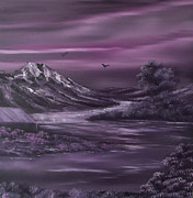 Cabin Wall Prints - Purple Rain 2 Print by Cynthia Adams