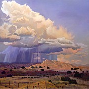 Hudson River School Painting Posters - Purple Rain Poster by Art West