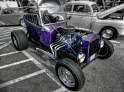 Street Rods Posters - Purple Rod 001 Poster by Lance Vaughn