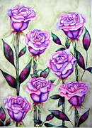 Elizabeth Kurtak Framed Prints - Purple Roses Framed Print by Elizabeth Kurtak