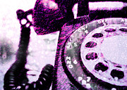 Pop Art Photos - Purple Rotary Phone by Jon Woodhams