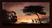 Giraffe Digital Art Originals - Purple Safari Sunset by Melinda Hughes-Berland