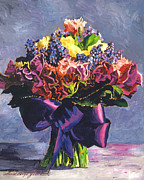 Sash Painting Acrylic Prints - Purple Sash Bouquet Acrylic Print by  Davi