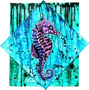 Genevieve Esson Painting Originals - Purple Seahorse by Genevieve Esson