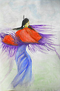 Shawl Painting Originals - Purple Shawl Dancer by Linda Waidelich