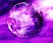 Man In The Moon Mixed Media Prints - Purple side of the moon Print by Mindy Bench