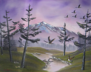 Canadian Geese Paintings - Purple Sky by Kevin  Brown