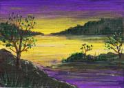 Landscape Greeting Cards Drawings Posters - Purple Sunset Poster by Anastasiya Malakhova
