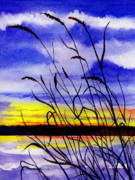 Maine Artist Paintings - Purple Sunset by Brenda Owen