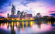 Nashville Downtown Photos - Purple Sunset by Lucas Foley