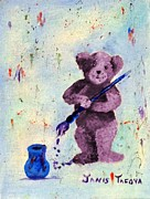 Cuddly Prints - Purple Teddy the Artist Print by Janis  Tafoya