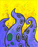 Tentacles Paintings - Purple tentacles over yellow by Sam Evil