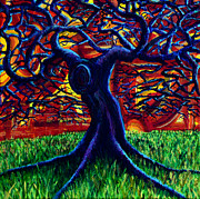 Warm Colors Paintings - Purple Tree by Aletha Keogh