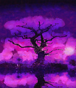 Fantasy Tree Art Metal Prints - Purple tree of life Metal Print by Pixel Chimp