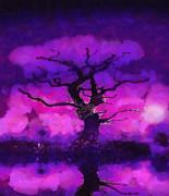 Purple Tree Of Life Print by Pixel Chimp