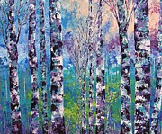 Pallet Knife Painting Originals - Purple trees by Shilpi Singh