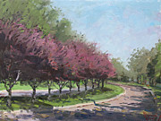 Trees Blossom Paintings - Purple Trees  by Ylli Haruni