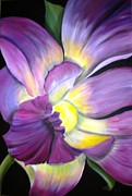 Burst Painting Posters - Purple Tropical Poster by Debi Pople