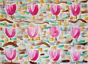 Purple Tulip Paintings - Purple Tulip Pattern by Troy Thomas
