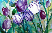 Tulips Paintings - Purple Tulips by Ashleigh Dyan Moore