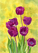 Tulip Paintings - Purple Tulips with Textured Background by Sharon Freeman