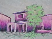 Adobe Buildings Pastels Posters - Purple Village Poster by Marcia Meade