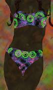 Kate Farrant - PurpleGreen Bikini Abstract Woman painting
