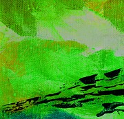 Emerald Green Abstract Paintings - Pursuit Emerald Green by L J Smith