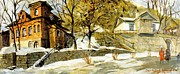 Snow Scenes Mixed Media Metal Prints - Pushkin Street The First Snow Metal Print by Jake Hartz