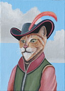 Humorous Cat Paintings - Puss In Boots by Stuart Swartz