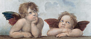Virgin Mary Framed Prints - Putti detail from The Sistine Madonna Framed Print by Raphael