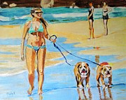 Beach Art Prints - Putting On the Dog Print by Judy Kay