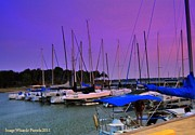 Docked Sailboats Prints - Putting the Sails to Bed at Sunset Print by PAMELA Smale Williams