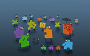 Umbrella Digital Art - Puzzle Family by Sanely Great