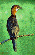 Surreal Landscape Painting Metal Prints - Pygmy cormorant Metal Print by George Rossidis