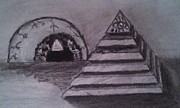 Pyramid Drawings - Pyramid and The Eye God by George Jewell