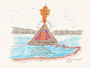 Formation Drawings Prints - Pyramid Lake - Nevada Print by Mark David Gerson